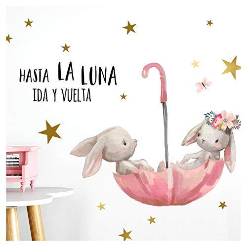 Little Deco Wandtattoo Babyzimmer Hasen & Spruch Hasta La Luna I A4-21 x 29,7 cm I Regenschirm Kinderbilder Deko Kinderzimmer Mädchen Aufkleber Sticker DL255