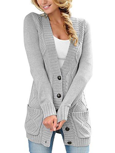 Tomwell Mujer Cardigans Invierno Botón Chaquetas de Punto Manga Larga Pullover Abierto Suéter Elegante Jersey Gris 38