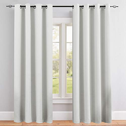 Vangao Room Darkening Curtain 95 inches Length Window Treatment Blackout Drape for Bedroom, Grommet Top, 52Wx95L-inch, 1 Panel, Greyish White