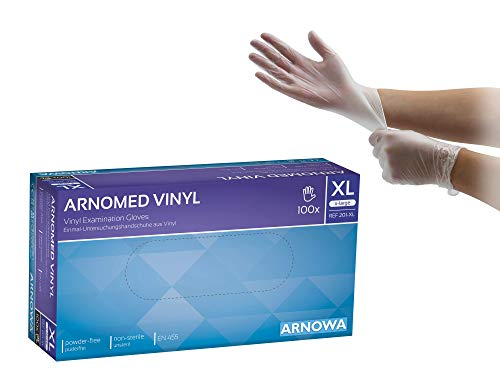 Vinylhandschuhe puderfrei Einweghandschuhe Größe XL weiße Einmalhandschuhe von ARNOMED 100/Box S M L XL