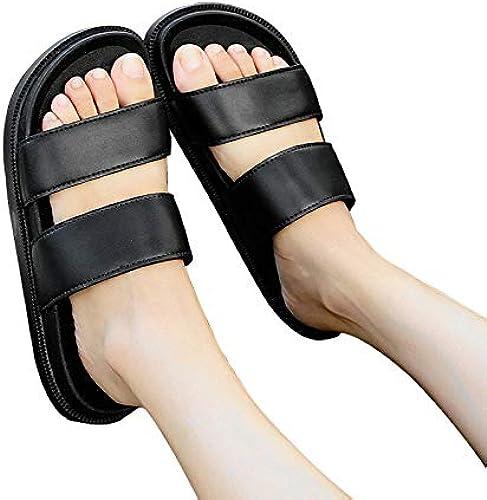 Anddod Korean Men femmes Outdooors Couple chaussures Slippers Non-Slip Breathable Soft Wearable Summer Beach - 41 noir