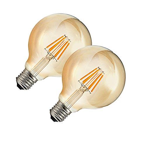 OUGEER 2 bombillas LED Edison G80 E27 de 6 W, estilo retro,...