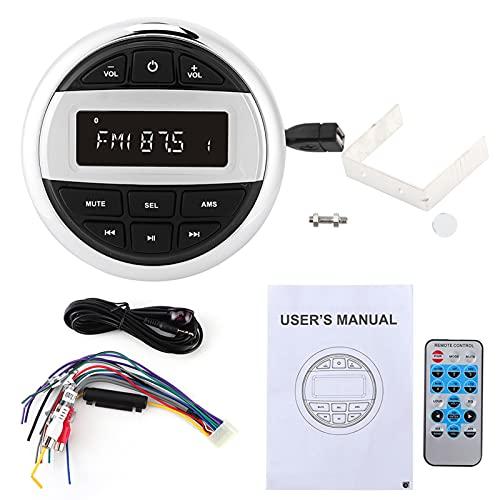 Reproductor de MP3 Bluetooth a prueba de agua, estéreo digital, FM, AM, radio de audio, carga USB para barcos marinos, yates, motocicletas, piezas de motocicletas