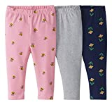 Moon and Back by Hanna Andersson 3 PK Cotton Stretch Legging Infant-and-Toddler-Leggings, Multi Print, 6-12 Months, Pack de 3