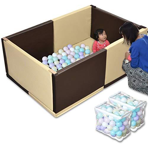 RiZKiZ キッズプレイサークル 【ベージュ×ブラウン】 ボール200個セット 【パステル】 100×150×55cm ベビーサークル ボールプール クッションマット 組立て簡単 防音 安全 安心 PVCレザーで防水仕様