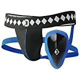 Diamond MMA Athletic Cup Groin Protector & Four-Strap No Shift Jock Strap System for Sports, Medium