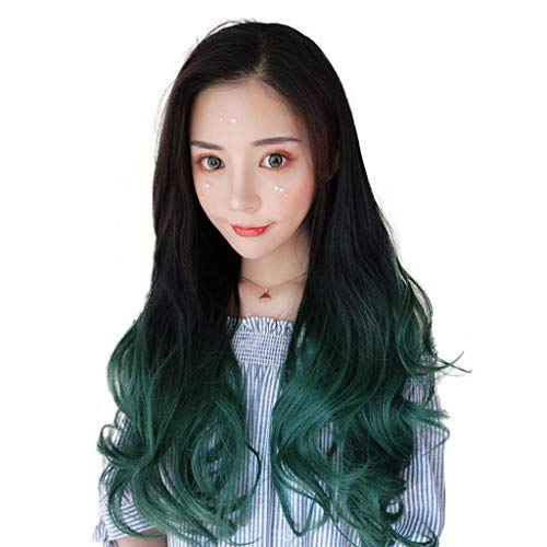 Wigs Long Curly Hair Teenage Cosplay Water Ripples Large Wavy Hair Sets Black Gradient Peacock Green Long Hair Party Role-Playing Cute Girl Simulation Around 60cm