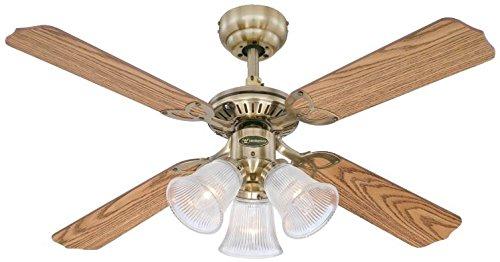 Westinghouse Ventilatore a Soffitto Princess Trio E14, 60 W, Finitura in ottono lucidato, Pale in Rovere/Mogano