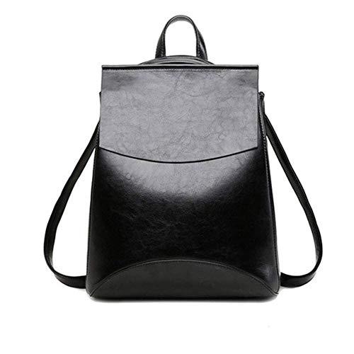 Women's Ladies Genuine Leather Handbags and Rucksack 2 in 1 Vintage Rucksack Shopping City College Uni Shoulder Backpack Casual Daypack-24 * 30 * 10cm