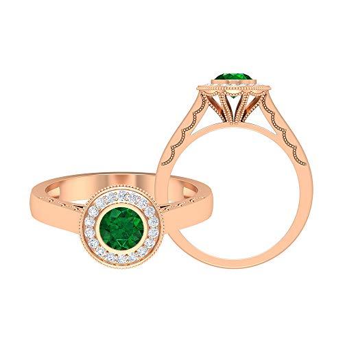 Anillo solitario de 5,00 mm de esmeralda, anillo de compromiso con halo de diamante HI-SI, anillo de compromiso, bisel de oro (calidad AAA), 14K Oro rosa, Size:EU 65