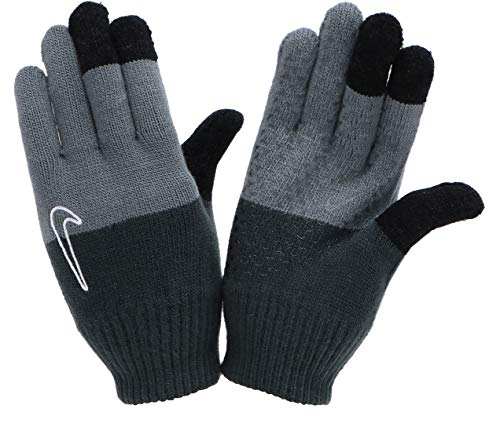 Nike Guantes de punto juvenil negro/gris con función táctil (L/XL).