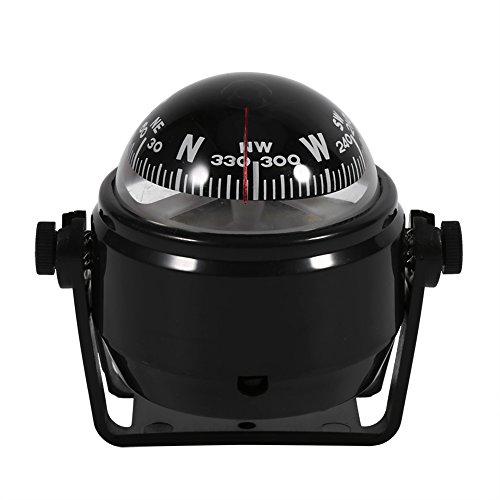 Estink Car Mount Compass,Multi-Functional Sea Marine Navigation Bracket Mount Compass Voyager Compass Outside Also Fits Boat Caravan Truck (Black)