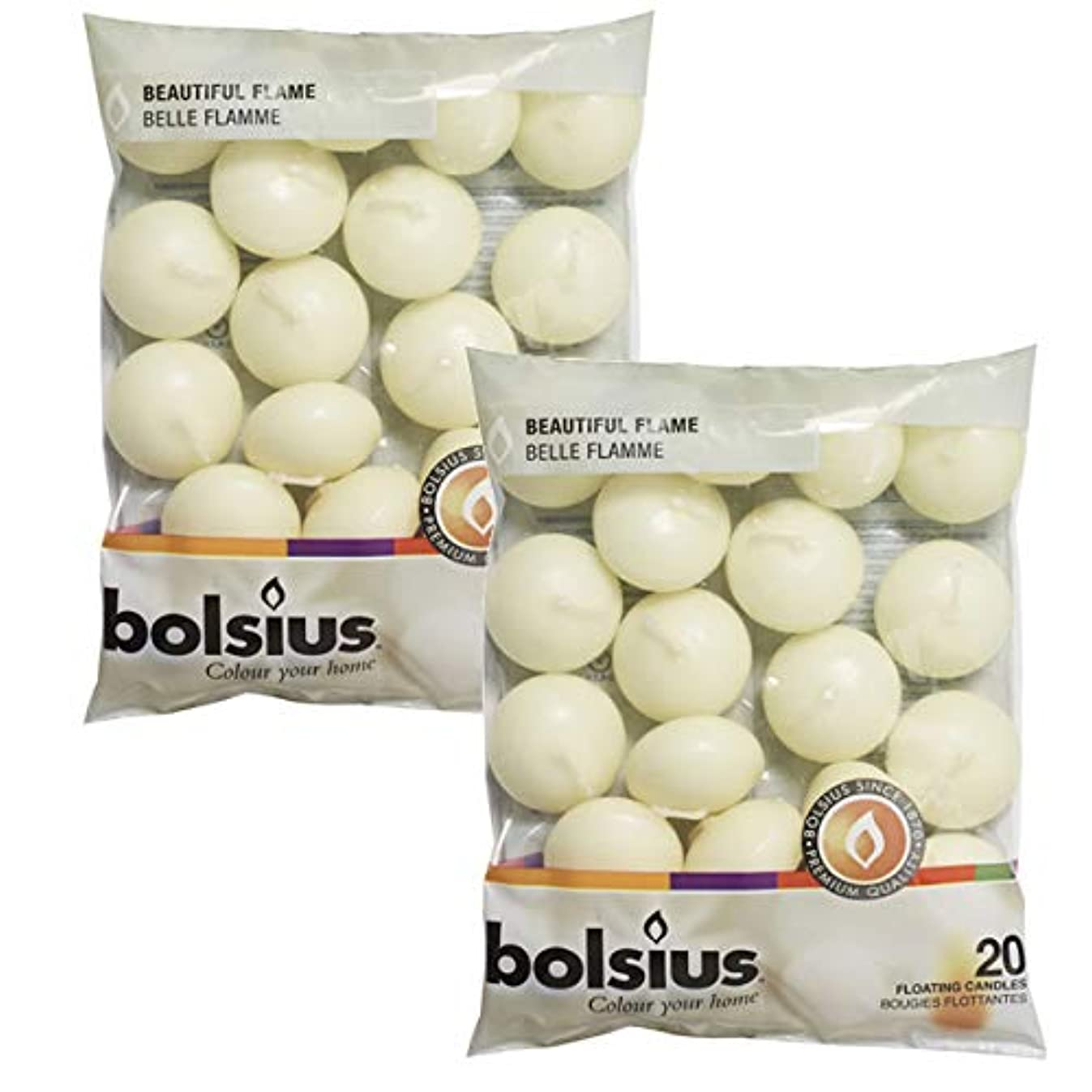Bolsius Unscented Floating Candles – Set of 40 Ivory Floating Candles 1.3/4 inch – Elegant Burning Candles – Candles Nice Smooth Flame – Party Accessories