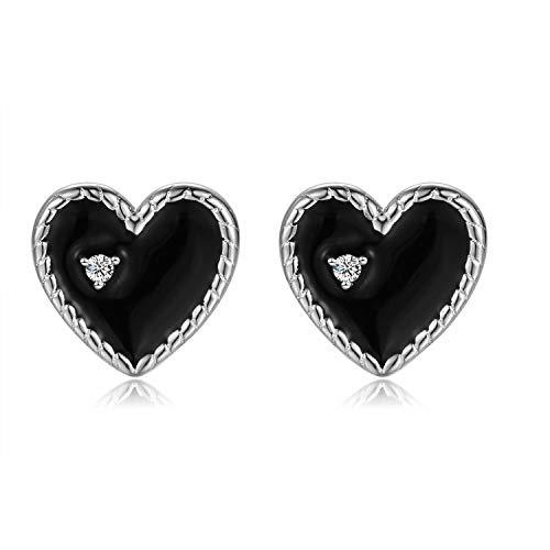 Qings Herz Liebe mit Platin überzogen Ohrringe 925er Sterling Silber mit Funkelndem Zirkonia Stein Schwarz Weiß Ohrstecker als Geschenk für Frauen und Mädchen