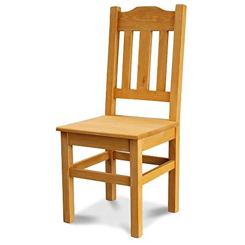 Elean Kuechenstuhl (HSL-02) Holzstuhl Esszimmerstuhl Stuhl mit Lehne Kiefer massiv vollholz zusammengebaut Verschiedene Farbvarianten Neu (Kiefer lasiert)