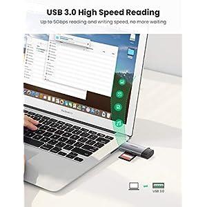 UGREEN USB Tipo C Lector Tarjetas SD Micro SD, 2 En 1 USB C Lector Tarjeta de Memoria USB 3.0 Lectura Simultánea SD, Micro SD, TF, MMC para iPad Pro 2020 2018, Huawei P40, Xiaomi Redmi Note 8 Mi 10
