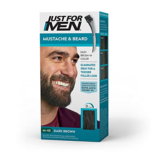 Just For Men Mustache & Beard, Beard Coloring for Gray Hair with Brush Included for Easy Application, With Biotin Aloe and Coconut Oil for Healthy Facial Hair - Dark Brown, M-45