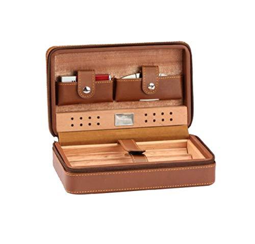 ZXL sigaar doos, vochtige sigaar doos, draagbare sigaar Cutter, aansteker Cubaanse sigaar doos set, Humidor Multi kleuren optioneel (kleur: bruin)