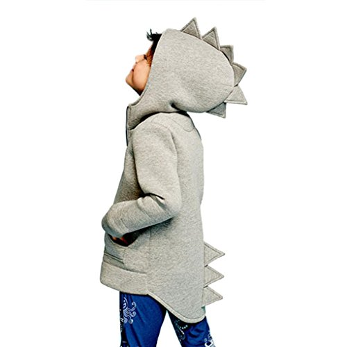 Bambino Cappotto, feiXIANG Bambino bambini baby capispalla giacca stile dinosauro cappuccio copricapo vestiti--bella,dinosauro stile (4 Anni, Grigio)