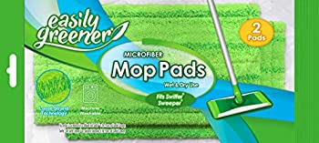 Swiffer Sweeper Compatible Microfiber Mop Pads by Easily Greener Reusable Refills for Wet and Dry Use 2 Count