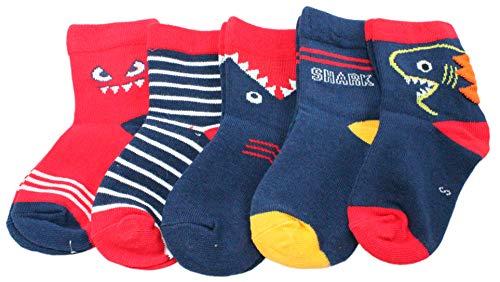 Chaussettes pour bébé garçon Motif requin Rouge/bleu marine - Vert - Large