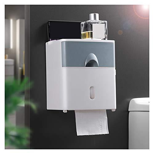 WXXSL Moderno Portarotolo Bagno, ABS Impermeabile Montaggio Parete Portarotolo Carta Igienica Nessuna Perforazione Deposito Tessuto Bagno 17,6×13,6×20,6cm,Grigio