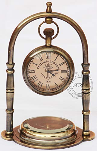 MAI Nautical Clock Ship Table Clock Brass Desk Clock Maritime Brass Compass with Antique Victoria London Pocket Watch with Engraved Needle.