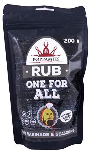 Poppamies One for All Rub, Dry Marinade & Seasoning Perfect voor vis, rundvlees, groenten, varkensvlees, kip - Geweldig in de grill, barbecue, oven, ketel en pan - groot pakket (200g)