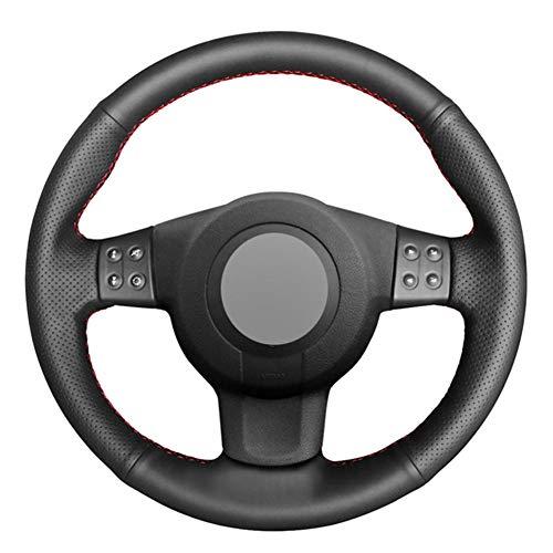 USNASLM Funda para volante de coche de piel sintética negra cosida a mano, para Seat Leon (Mk2) Ibiza (6 L), funda de cuero para volante