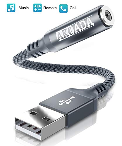AkoaDa USB to Audio Jack Adapter(3ft), External Sound Card Jack Audio Adapter with 3.5mm Aux Stereo Converter Compatible with Mac, Headset,PC, Laptop, Linux, Desktops, PS4 and More Device (Grey)