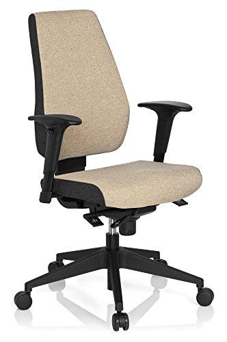 hjh OFFICE 608819 Profi Bürostuhl PRO-TEC 500 Stoff Beige Drehstuhl ergonomisch, Rückenlehne & Armlehnen höhenverstellbar