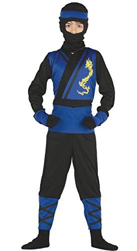 Guirca- Disfraz ninja azul, Talla 7-9 años (87475.0)