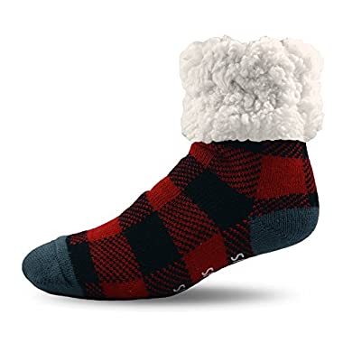 PUDUS Brand Slipper Socks,LumberJack Red,Adult