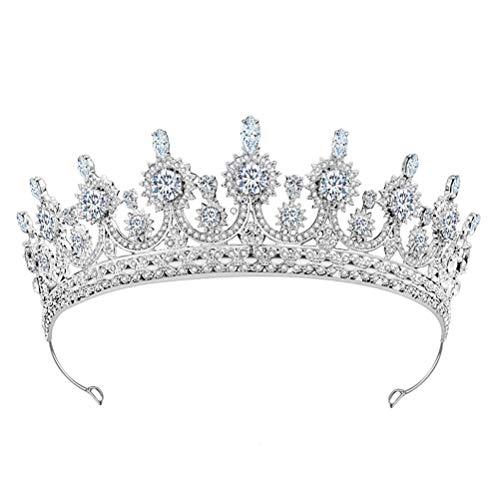 Lurrose 1 diadema brillante con diamantes de imitación delicados tocados para novia,...