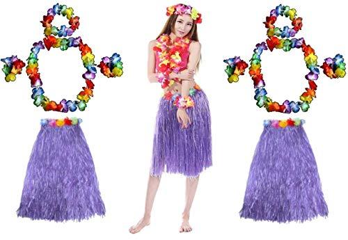 Quickdraw 2 x Hawaiian Hula Girl Grass Skirt and Flower Hula Lei Garlands Fancy Dress Costume 5 Piece Set