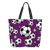 Damen Schultertaschen Multifunktionale Tote Satchel Handtaschen Arbeit/Reisen/Einkaufstasche, - Fußball Fußball Geo Sports Schwarz - Größe: Einheitsgröße