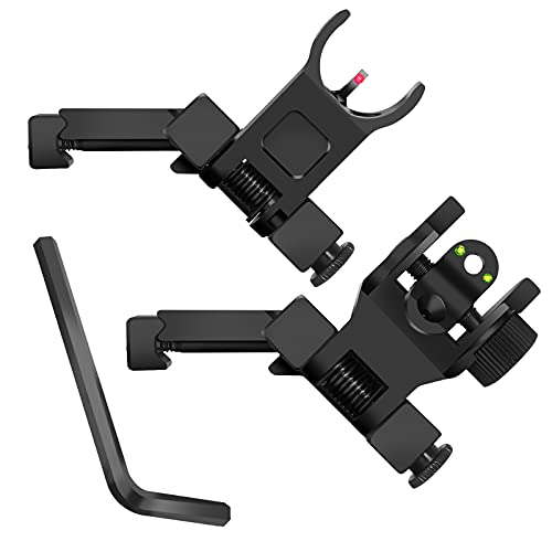 AWOTAC Fiber Optics Iron Sights Low Profile 45 Degree Flip-up Front and Rear Sights with Red and Green Dots Fit Picatinny Weaver Rails