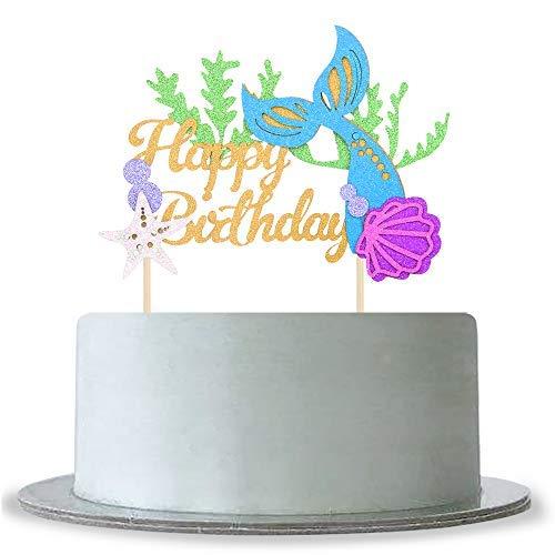 Queen54ferna Glitter Gelukkige Verjaardag Cake Topper Baby Douche Meisjes Jongens Verjaardag Cake Topper Onder De Zee Zeemeermin Thema Party Verjaardag Decoratie benodigdheden