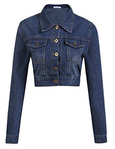 Womens Button Down Long Sleeve Cropped Purplish Blue Denim Jean Jacket