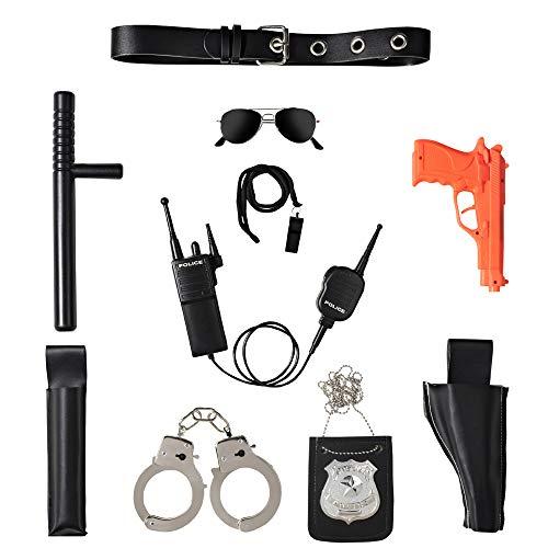 Ultimate all-in-one police accesorio juego de rol set para niños ? Incluye pistola, esposas, construcción de plástico duradero, accesorios de Víspera de Todos los Santos de la fuerza de policía para
