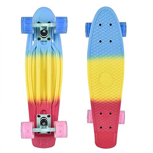 Honganrunli 56,5 x 16 cm Penny Board Skateboard con ruota lampeggiante impermeabile e cuscinetto in acciaio cromato ABEC-7 ad alta rumorosità, design inclinabile a 30° per bambini, ragazzi e adulti