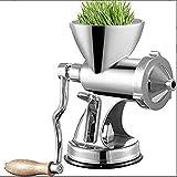 HXIYANG Exprimidor , prensa manual de pasto de trigo con base de ventosa y abrazadera de mesa, eje de tornillo largo, exprimidor de pasto de trigo, acero inoxidable para hacer jugo de pasto de trigo