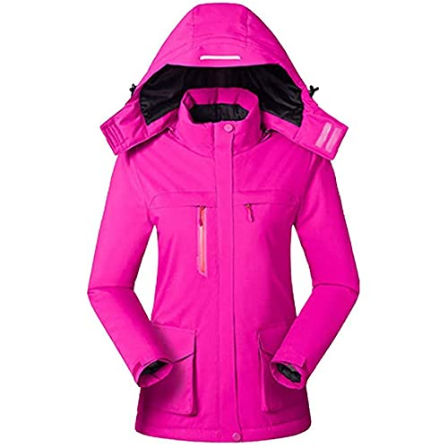 Electric Heated Jacket for Women Washable Warm Coats,Outerwear for Outdoor Camping Hiking Hunting Skiing (Color : Rose red, Size : Medium)