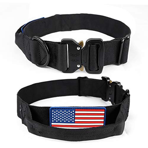 Aifort Tactical Dog Collar with Built-in Handle - K9 Pet Dogs with USA American Flag Patch - Military Training Collar Adjustable Nylon Heavy Duty for Medium to Extra Dogs Size M