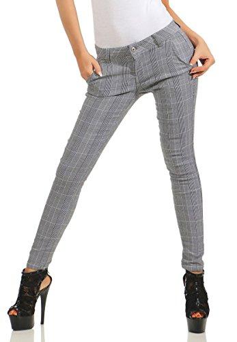 Fashion4Young 5401 Damen Hose Treggings Business Kariert Damenhose Büro Karohose Stretch Chino Slim-Fit (grau, M-38)