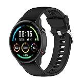 QULLOO Correa para Xiaomi Mi Watch/Xiaomi Mi Watch Color Sport,Flexible Silicona Reloj de Recambio Ajustable Brazalete Smart Watch Correa de Repuesto (Negro)