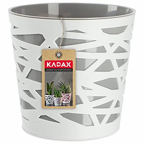 KADAX Blumentopf, Übertopf, runder Pflanztopf aus Kunststoff, Pflanzkübel für Blumen, Pflanzen, Balkon, Blumenkübel für Innen, leichtes Pflanzgefäß, moderner Blumenübertopf (17cm, Grau)