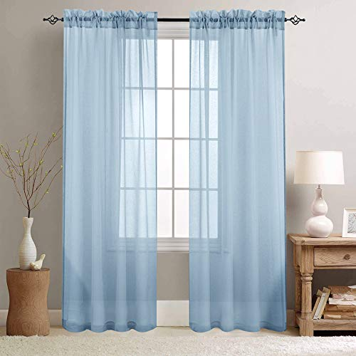 Sheer Curtains Blue 84 inch Length Window Curtain Set for Living Room Drapes Textured Voile Rod Pocket Sheer Window Panels for Bedroom, 2 Panels