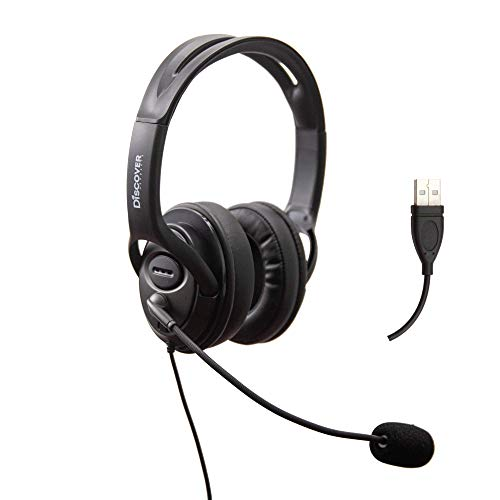 Discover D722U Noise Cancelling USB Wired Headset Compatible with Computer Softphone Apps Like Ringcentral, Nextiva, 8x8, Jive, Vonage, Cisco, Microsoft Teams, Avaya, Skype, Zoom and More