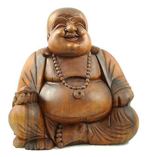 Coco Papaya Statue Bouddha Chinois Rieur en Bois sculpté 40c